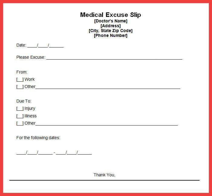 doctor excused absence form | memo example