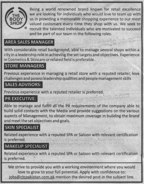 The Body Shop CTC Pakistan Jobs, Area Sales Managers