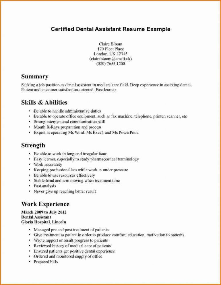 duty office receptionist resume dental hygiene template dental ...