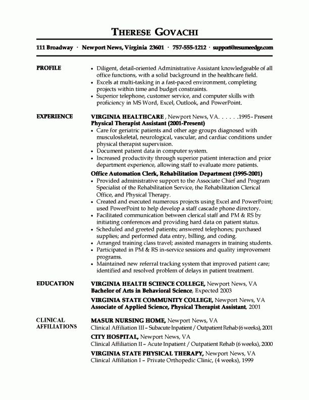 sample admin assistant resume combination resume for an executive ...