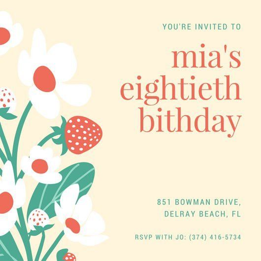 80th Birthday Invitation Templates - Canva
