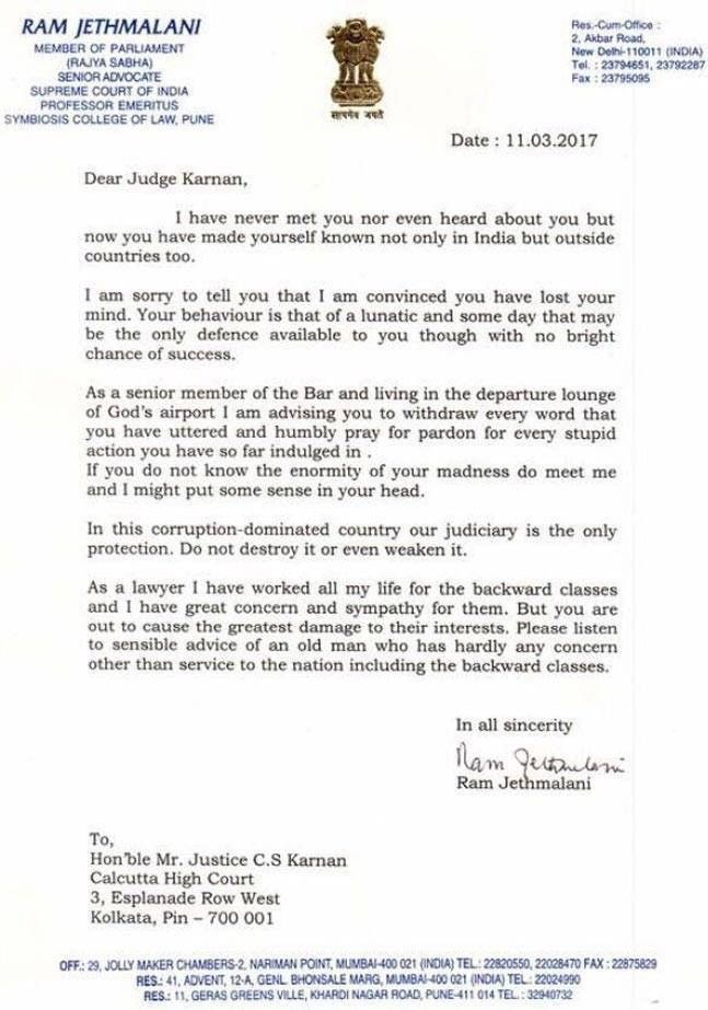 Why Jethmalani told Justice Karnan I am convinced you have lost ...