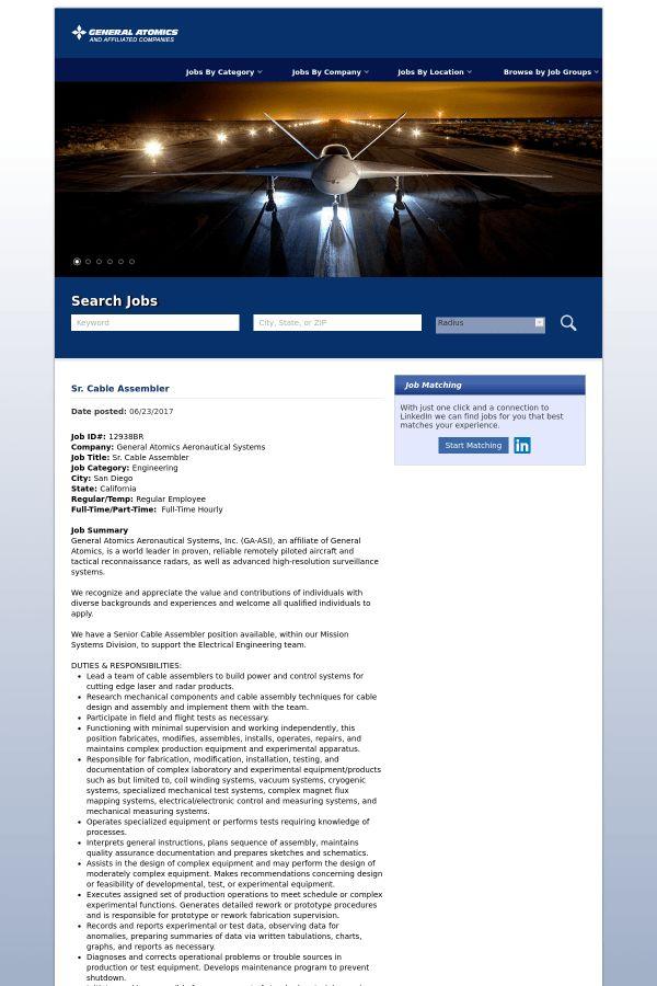 Senior Cable Assembler job at General Atomics in San Diego, CA ...