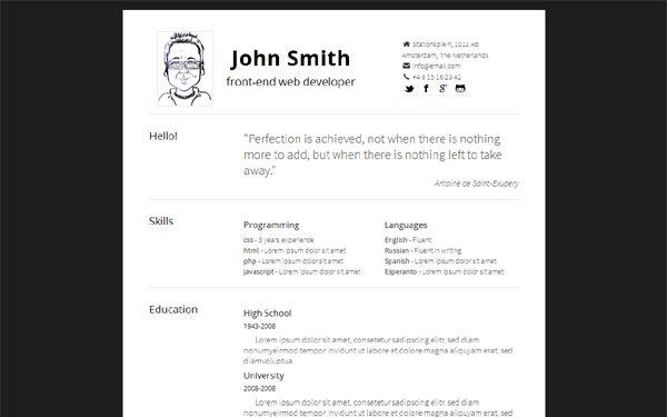 Simply - Minimal, Responsive Resume | Bootstrap Portfolio and ...