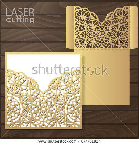 Laser Cut Wedding Invitation Card Template Stock Vector 516143434 ...