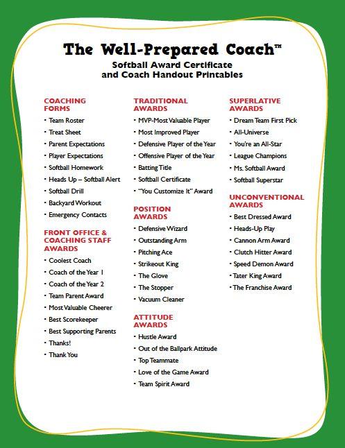 Softball Award Certificates | Templates | Coaching Forms ...