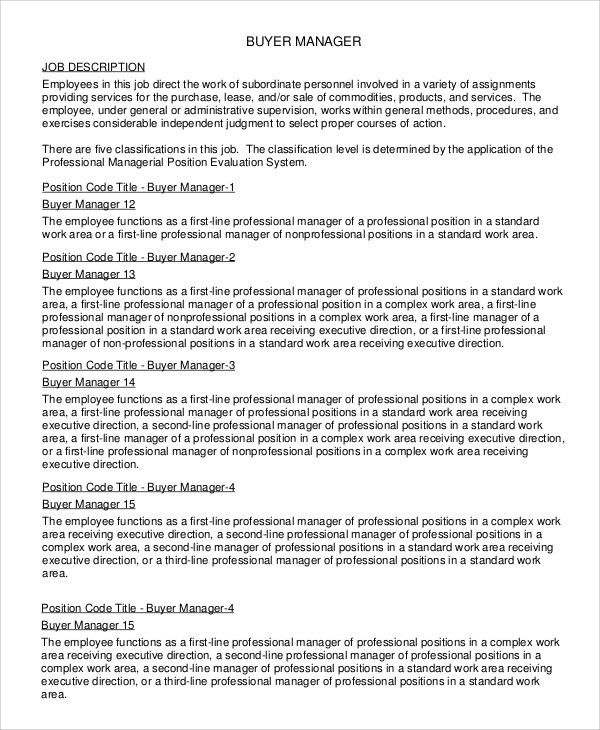 Sample Buyer Job Description - 10+ Examples in PDF, Word