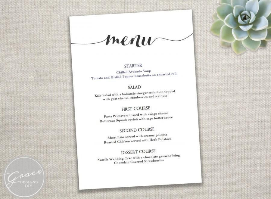 Dinner Party Menu Template. Free Printable Wedding Menus | Wedding ...