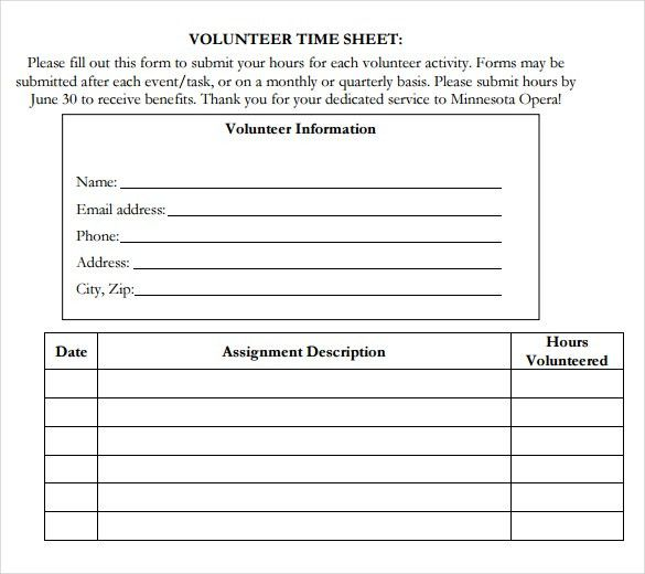 11+ Volunteer Timesheet Templates – Free Sample, Example Format ...
