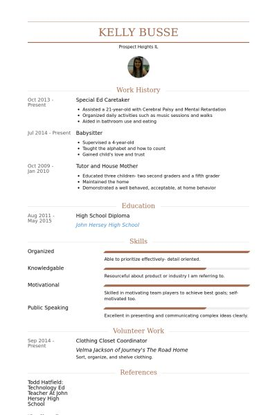 Caretaker Resume samples - VisualCV resume samples database
