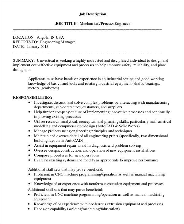Engineer Manager Job Description. Job Descriptions: A Basic Tool ...