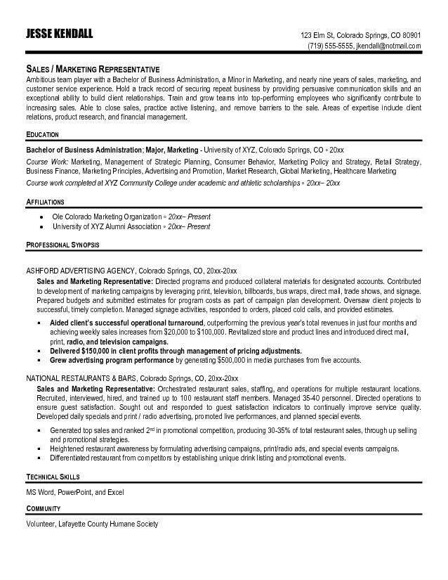 Sales Representative Resume Templates. best outside sales ...