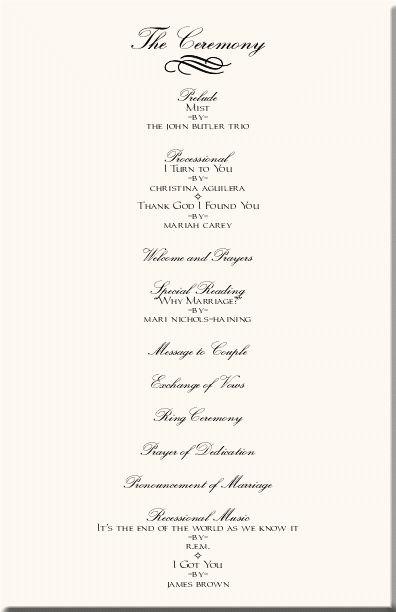 Wedding Ceremony Programs   Wedding Programs-Wedding Program ...