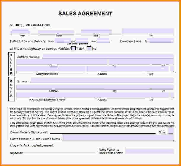 Vehicle Sales Agreement.sample Sales Agreement.jpg - Letter ...