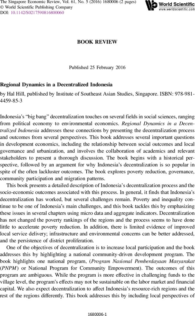 """BOOK REVIEW: """"Regional Dynamics in a Decentralized Indonesia ..."""