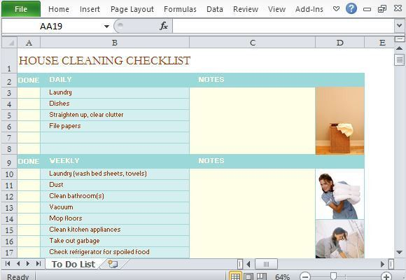 Template for Making House Cleaning Checklist in Excel