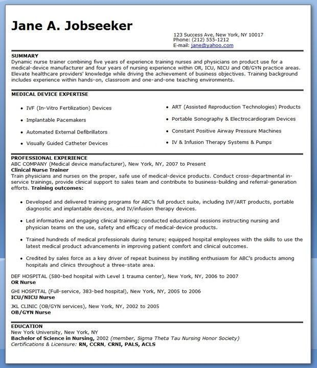 nurse educator resume samples. new grad nurse resume new grad ...