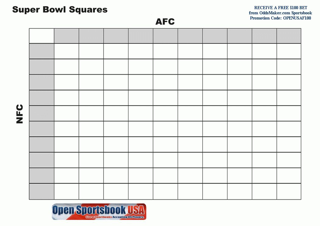 blank super bowl squares template - blank super bowl bars template