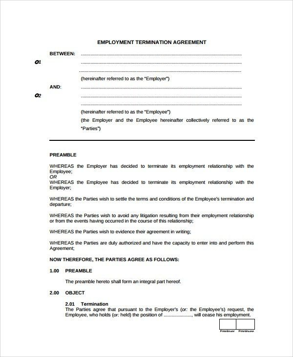 Employment Termination Agreement | Samples and Templates