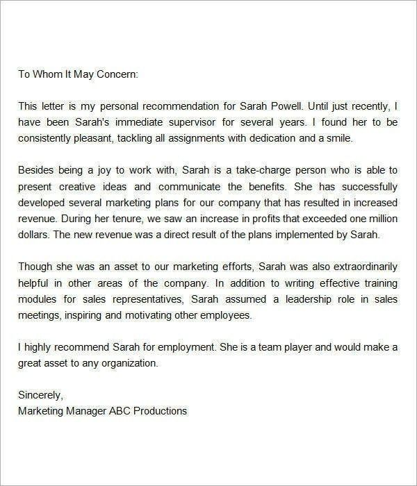 Recommendation Letters From Employers | The Letter Sample