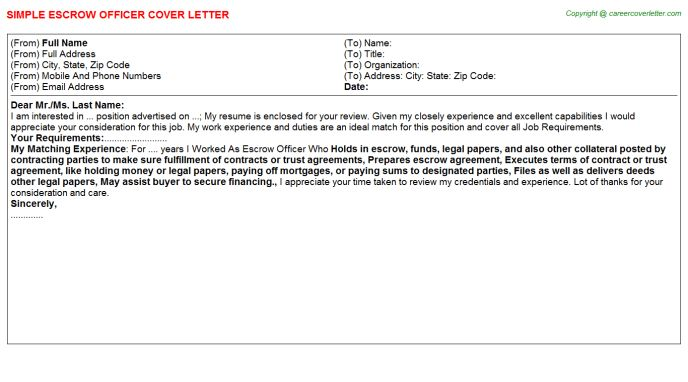 Escrow Officer Cover Letter