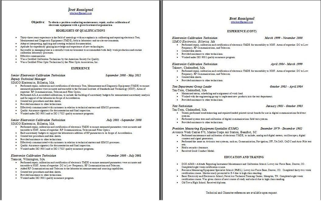 resume for electronic technician
