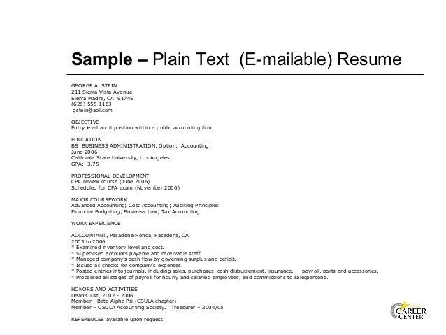 plain text resume the letter sample - Plain Text Resume Sample
