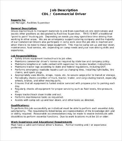 Driver Job Description - 8+Free PDF Documents Download | Free ...