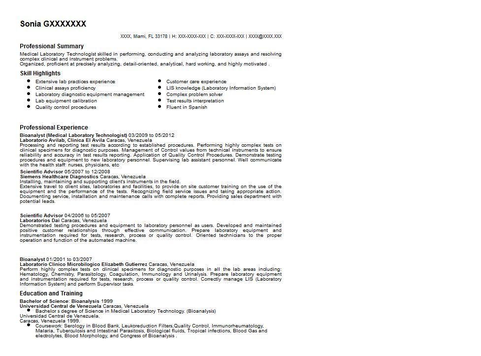 Medical Laboratory Technologist Resume Sample | Quintessential ...