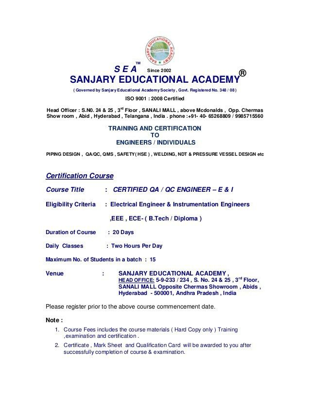 Sanjary Education Academy provides various certified qa/qc courses ...