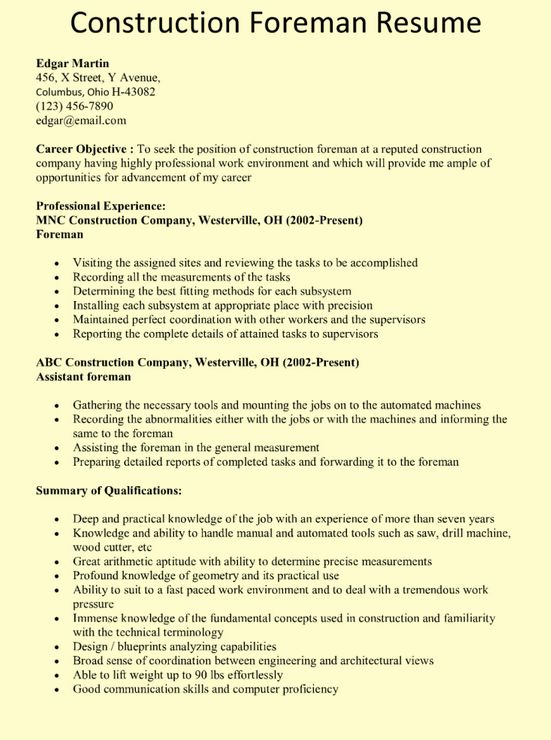 Construction Foreman Resume Example… | chicago jobs | Pinterest ...