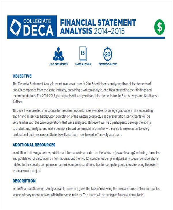 Financial Data Analysis. Financial Data Statement Analysis Sample ...