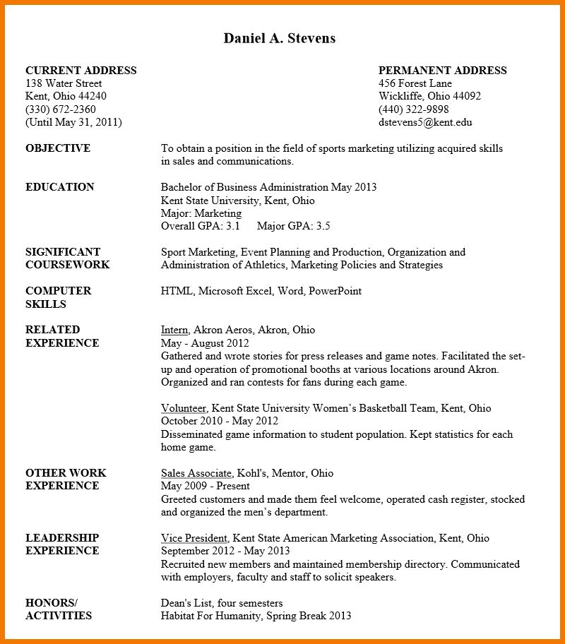 Sample Resume For Undergraduate Students - Gallery Creawizard.com