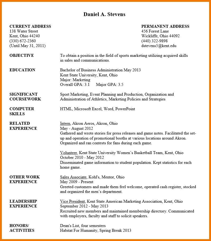 resume undergraduate resume template for undergraduate students