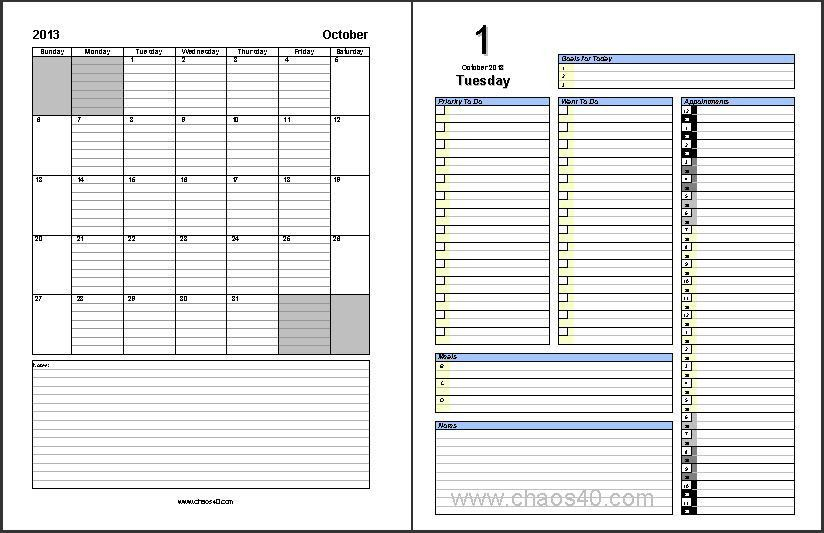 Free Download - October 2013 Daily Planner Pages - Chaos40.com