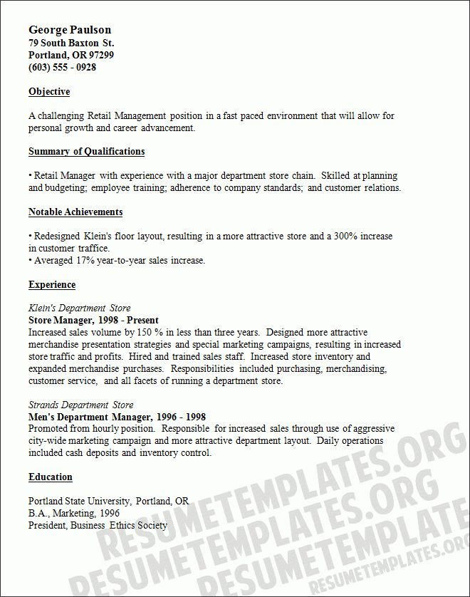 Extraordinary Retail Resume Objective 8 For S Manager ...