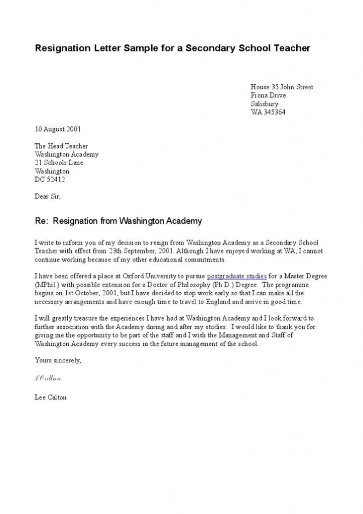 Resignation Letter Format: aide reason sample resignation letter ...