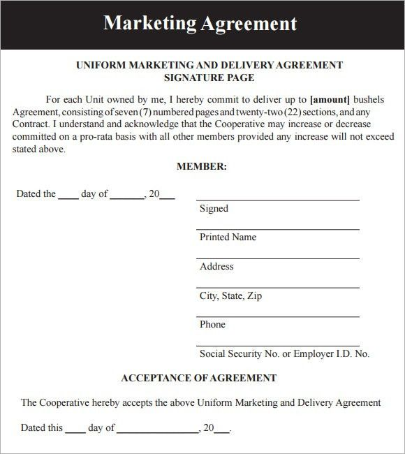 Marketing Agreement Template - 6+ Download Free Documents in PDF