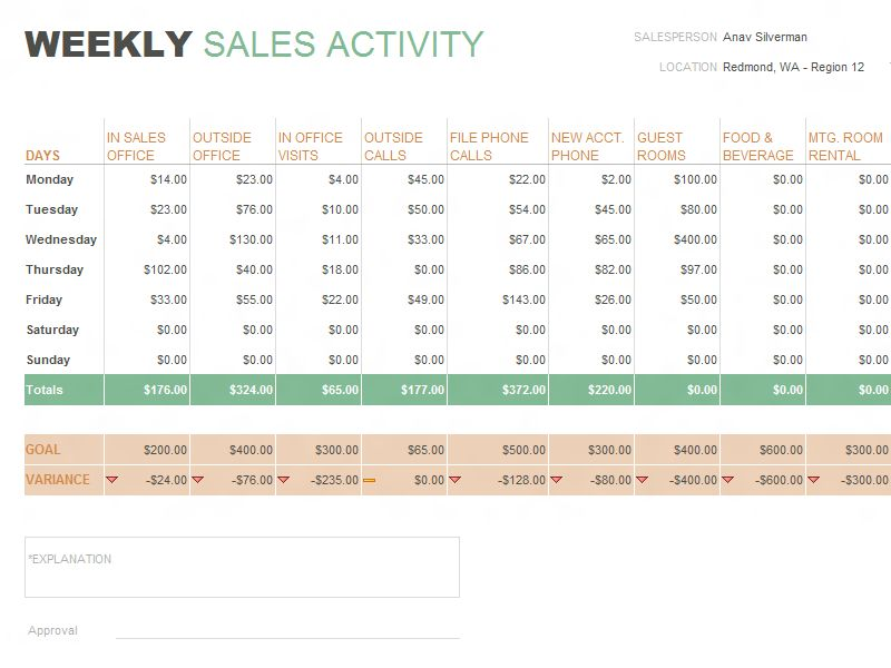 flash sales weekly report template