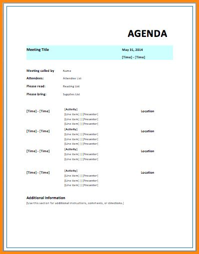 6+ meeting agenda template word | workout spreadsheet