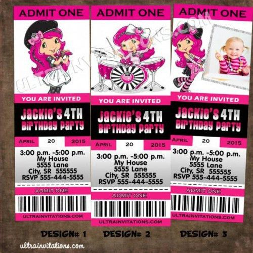 Strawberry Shortcake Ticket Invitation Pass, Concert Vip