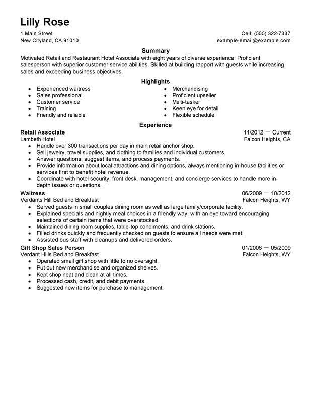 retail sales associate resume cover letter retail and restaurant ...