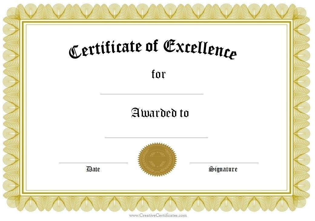 Printable Award Template. certificate template 49 free printable ...