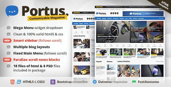 Portus - Responsive Blog & Magazine HTML Theme by orange-themes ...