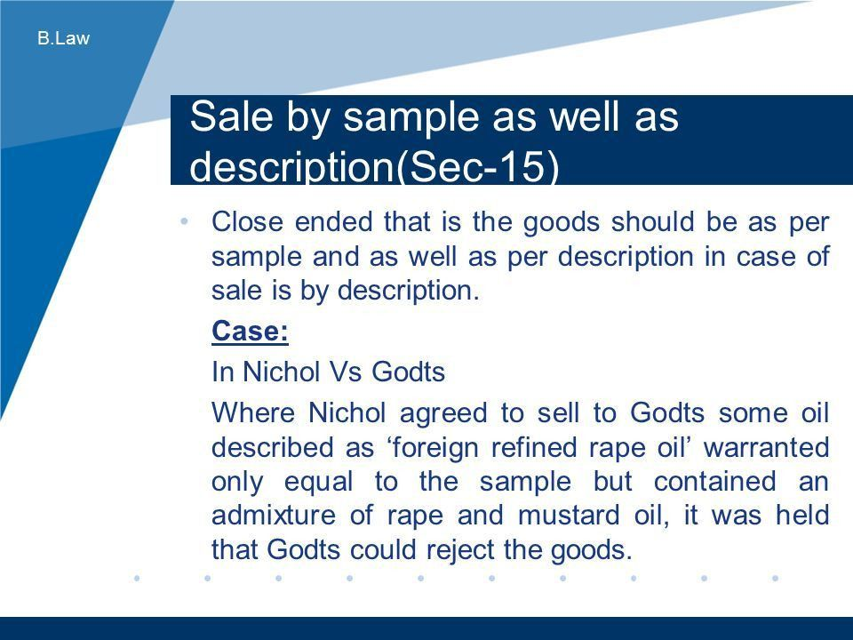 Business Law Sale of Goods Act ppt download
