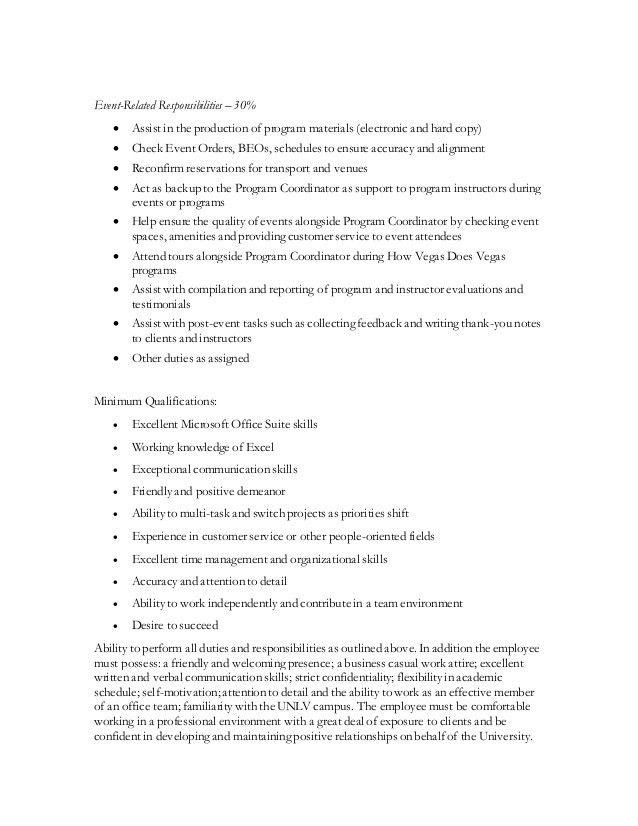 Student Admin Assistant Job Description
