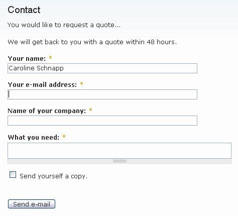 Theming the contact form in Drupal 6 | 11 heavens