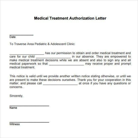 Medical permission letter medical permission letter medical treatment authorization letter template child consent form thecheapjerseys Images