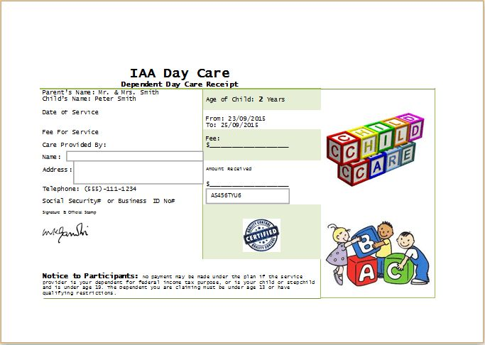 MS Word Printable Daycare Receipt Template   Receipt Templates
