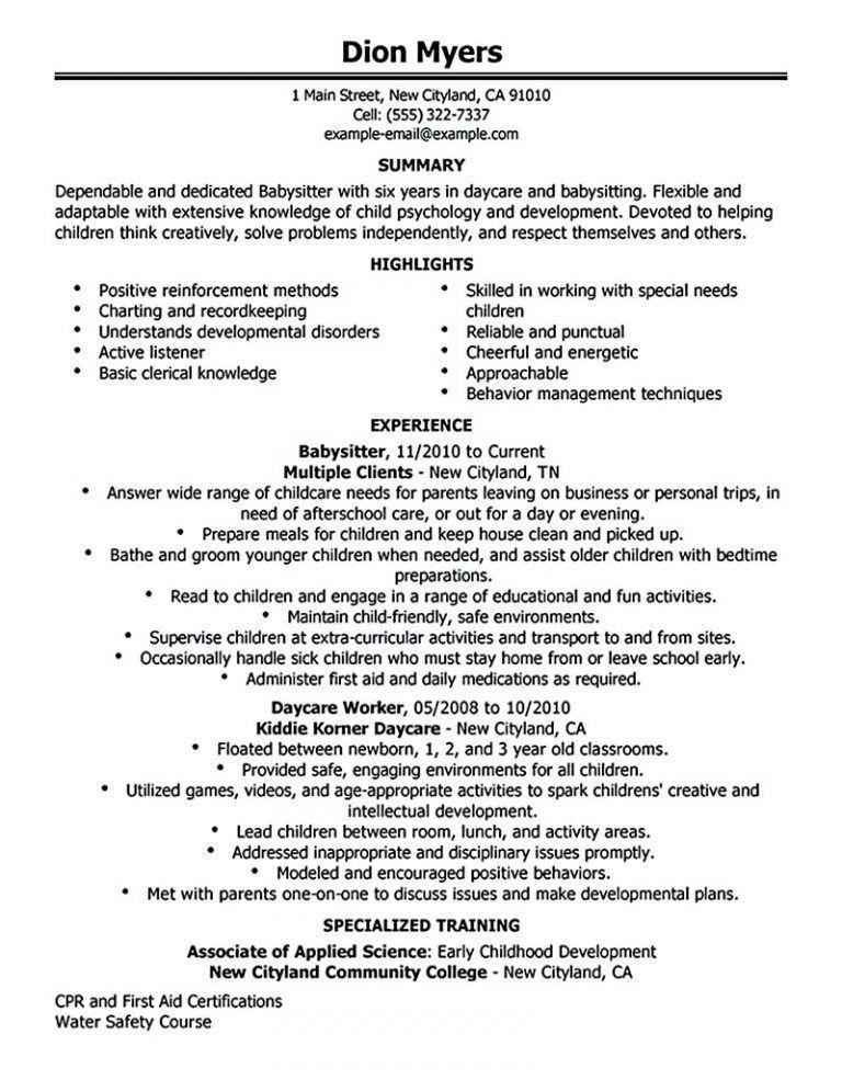 Download Babysitter Resume Objective | haadyaooverbayresort.com